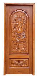 Wooden Carved Door with Ganesha Design