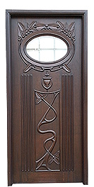 Wooden Carved Door with Glass Fitting