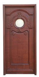 Designer Wooden Carved Door with Glass Fitting