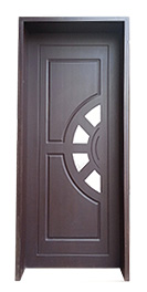 Woodn Inlay Door with Half Circle